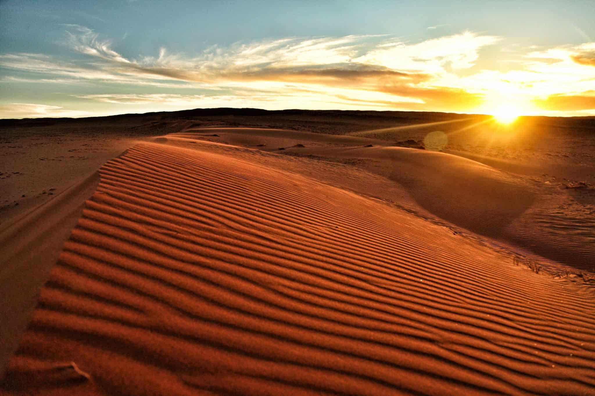 Sunrise in Namibia on Sand Dune
